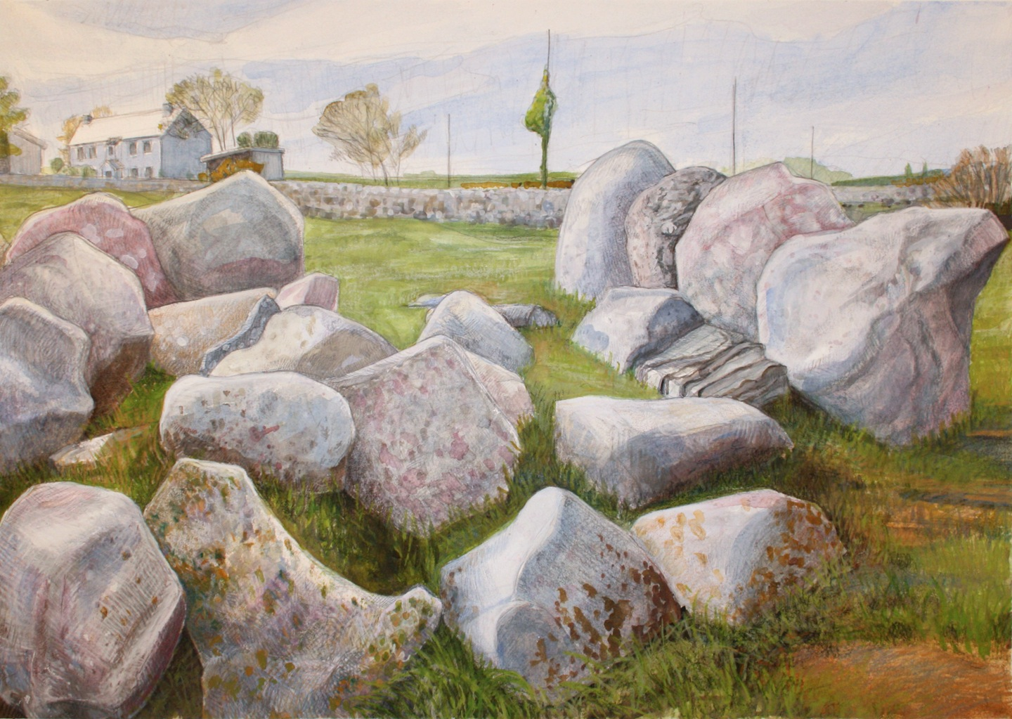 "Wedge Tomb   Watercolor/pencil, 14x20"", 2013"