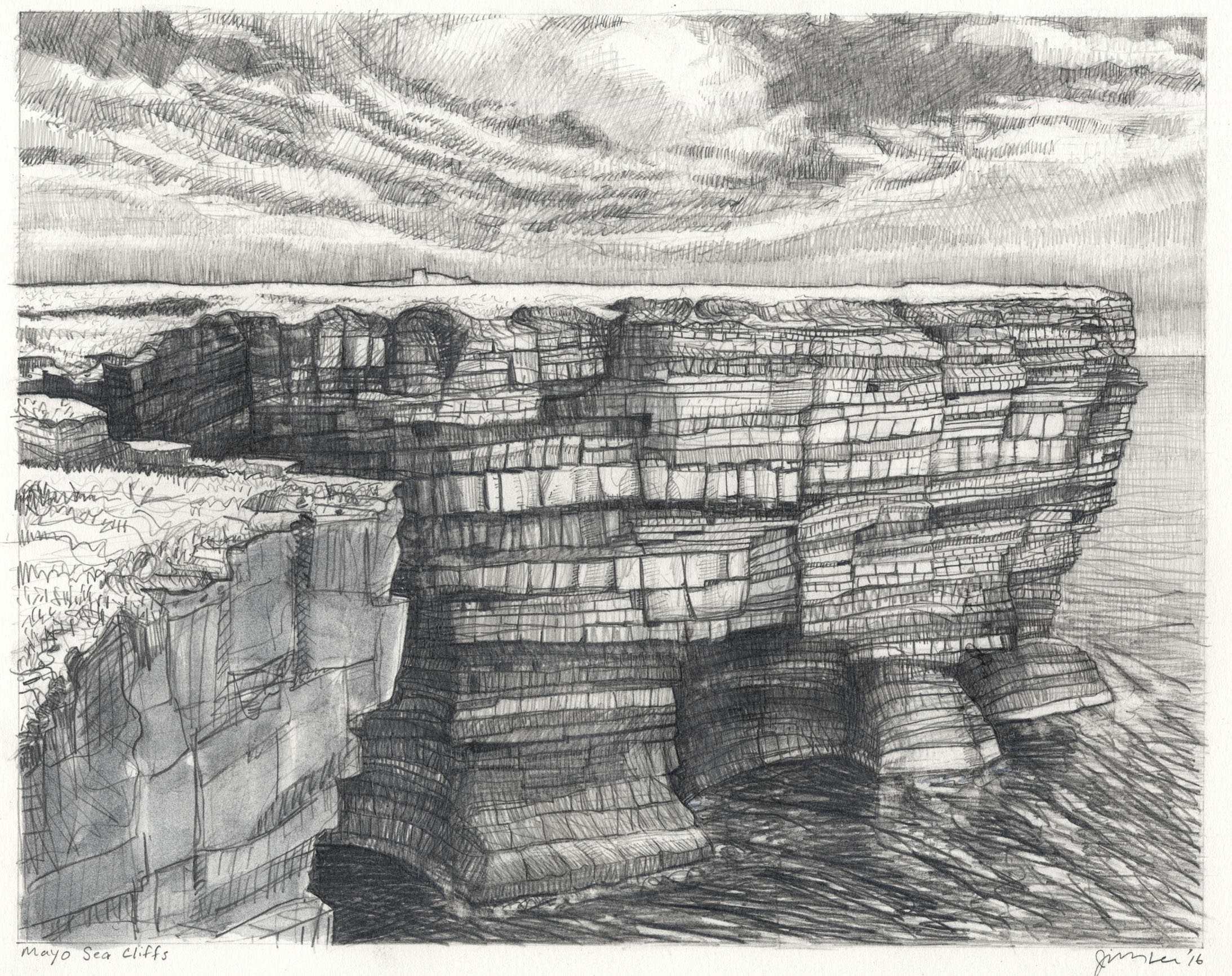 "Mayo Sea Cliffs   Pencil, 11x14"", 2016"