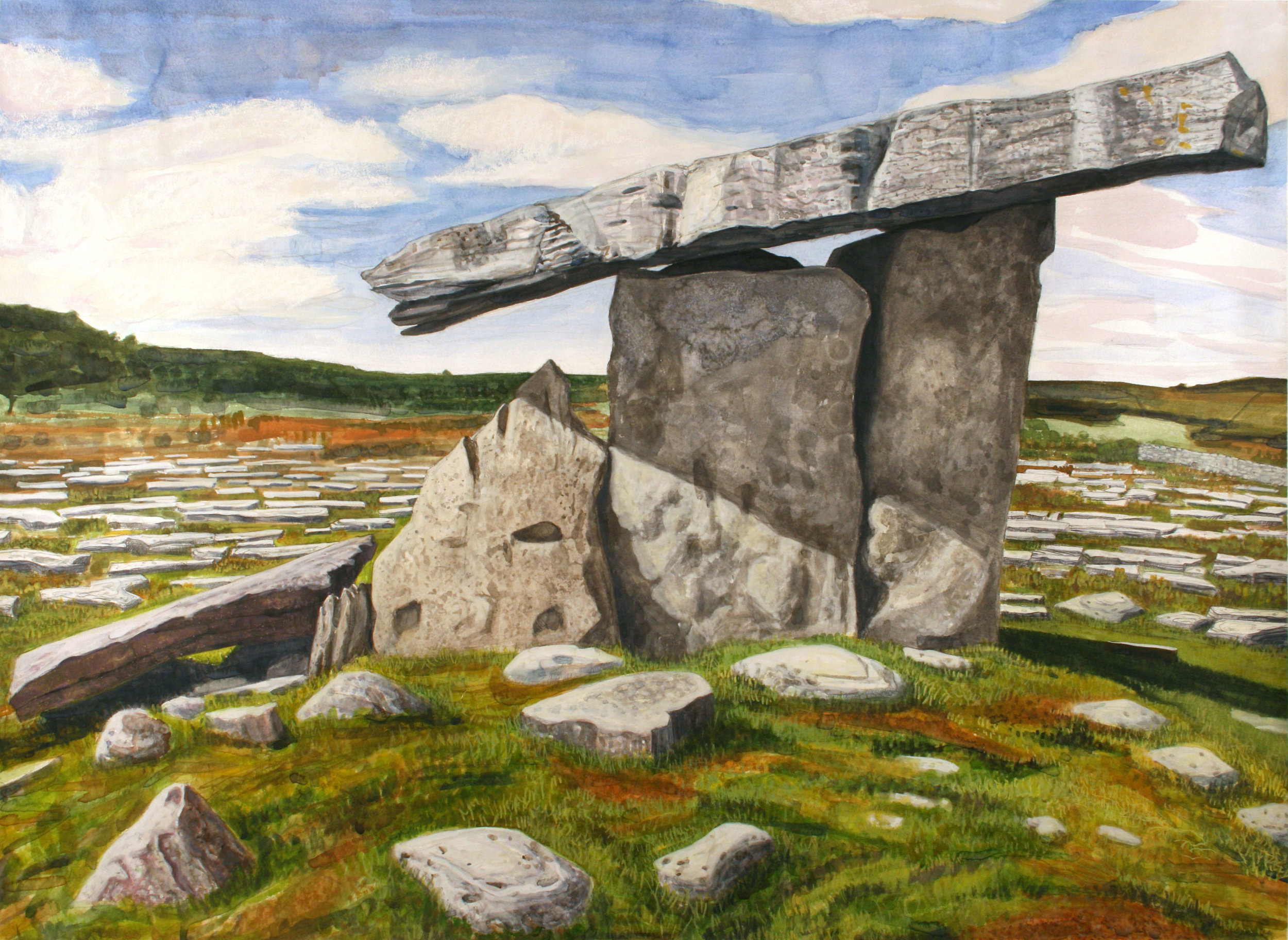 "Poulnabrone Doleman   Watercolor/pastel/pencil, 24x33"", 2014"
