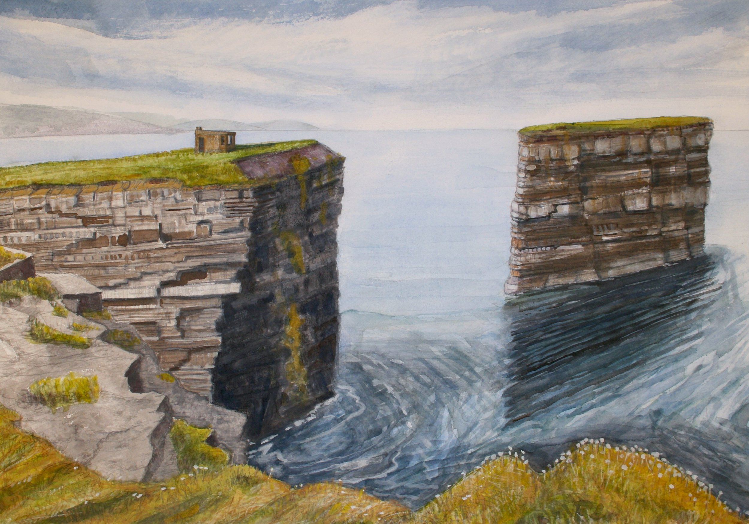 "Sea Stack at Downpatrick Head   Watercolor/pastel/pencil, 14x20"" 2013"