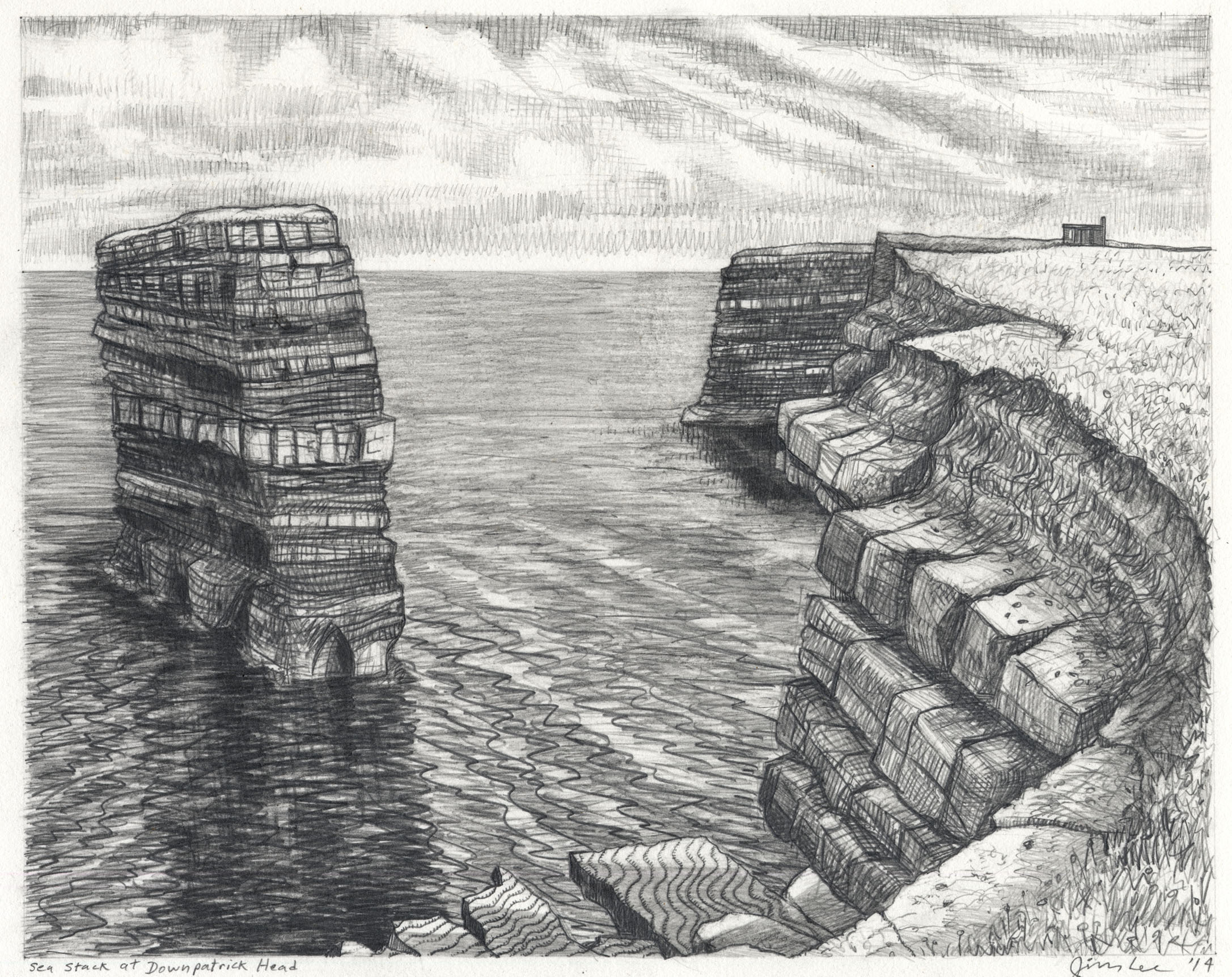 "Sea Stack at Downpatrick Head   Pencil, 11x14"", 2014"