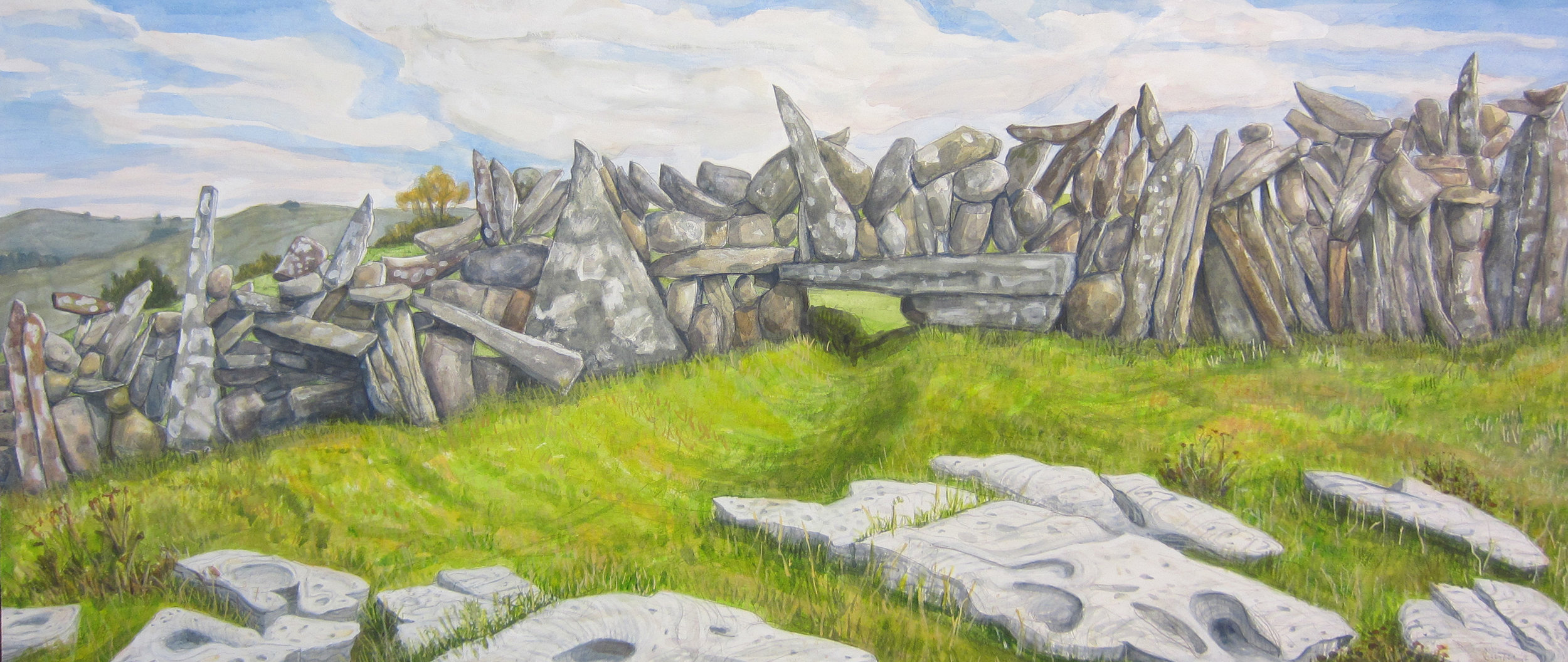 "Stone wall in the Burren   Watercolor/gouache/pencil, 22x40"", 2016"
