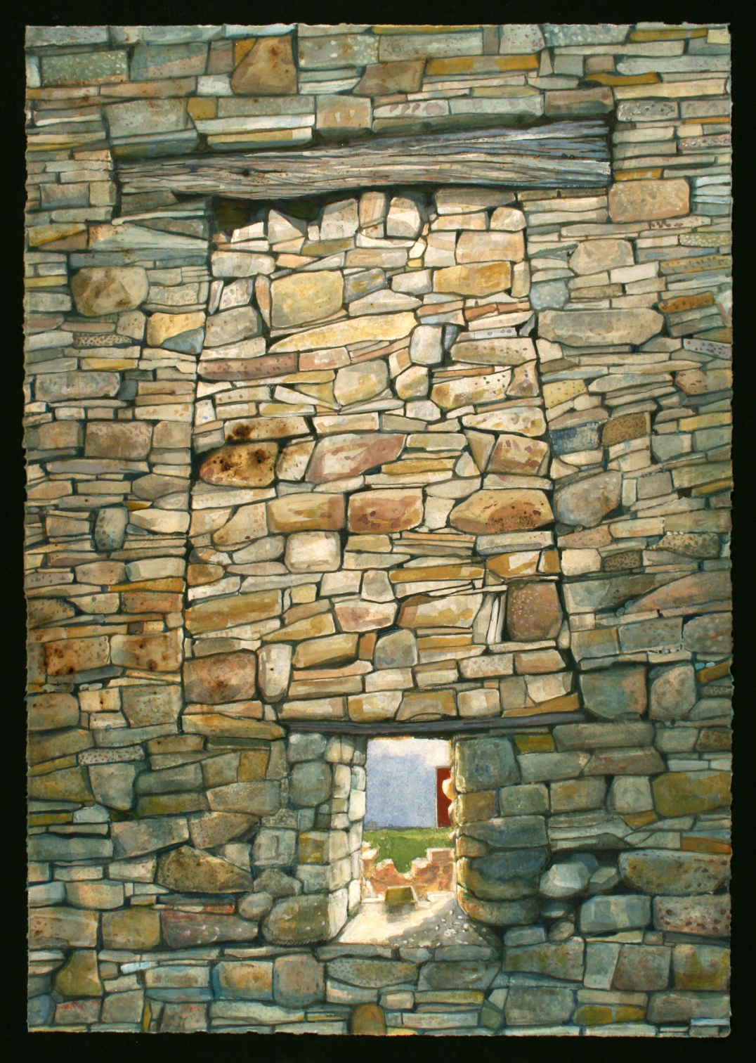 "Blocked up cottage wall   Watercolor/gouache/pencil, 20x14"", 2017"