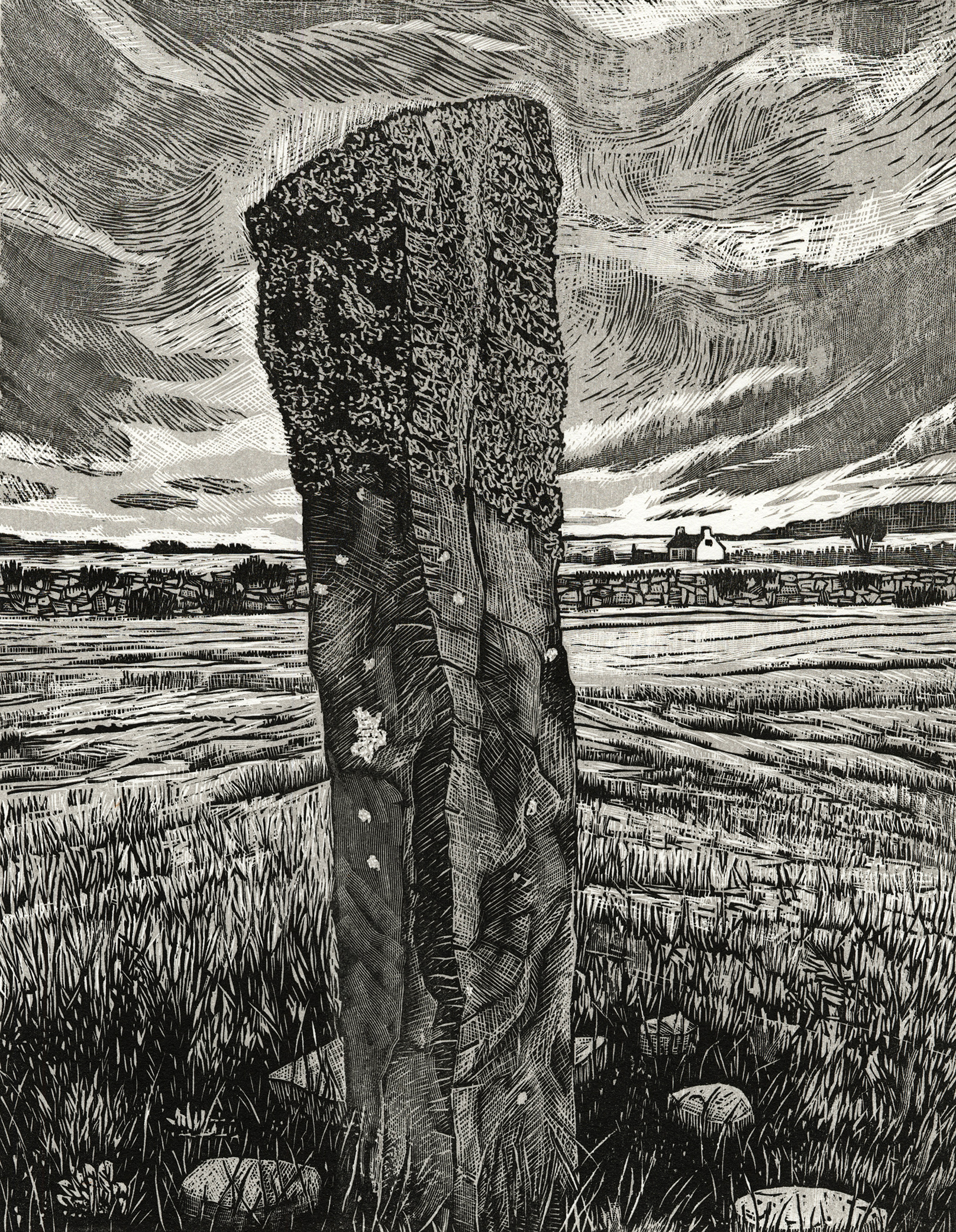 "Irish Standing Stone II   Woodcut, 18x15"", 2014"