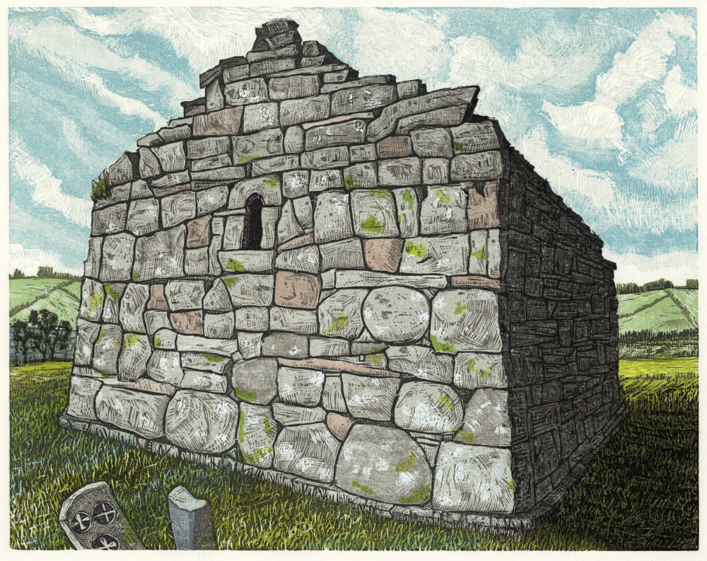 "St. Kilcomin Church, Co. Mayo   Color woodcut, 15x18"", 2015"