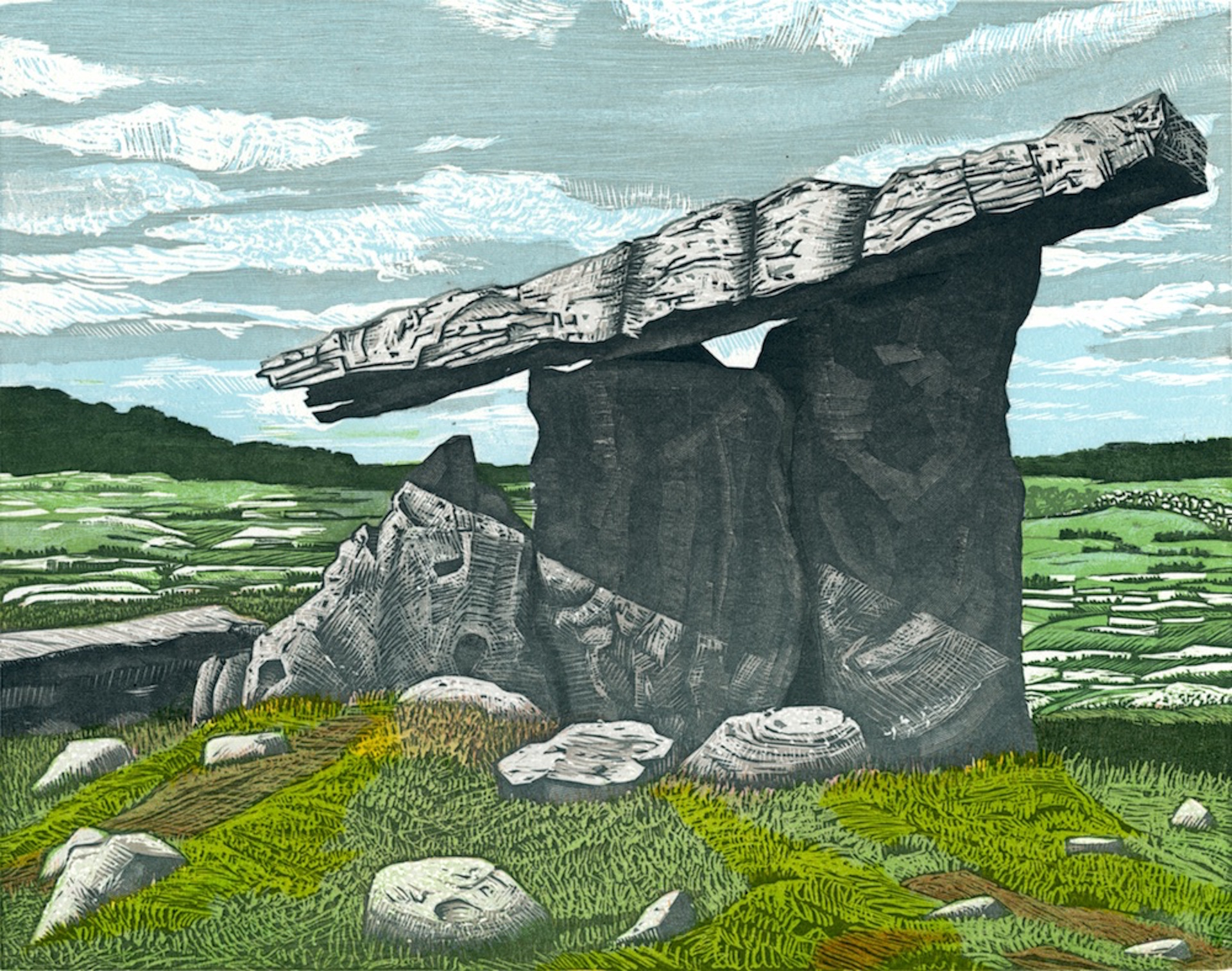 "Poulnabrone Dolmen, Co. Clare   Color woodcut, 11x14"", 2014"