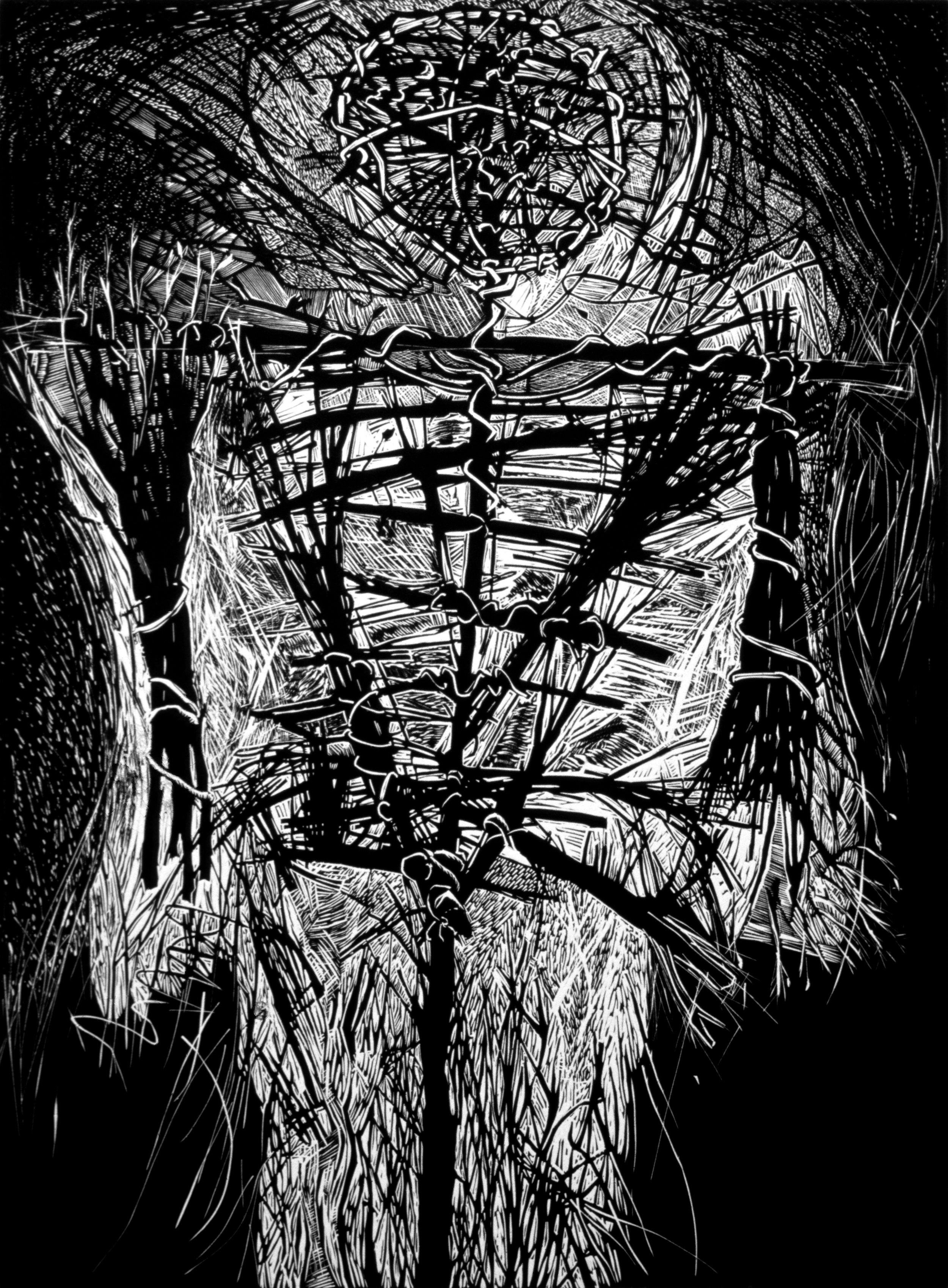 "Effigy   Linocut, 22x30"", 1987"
