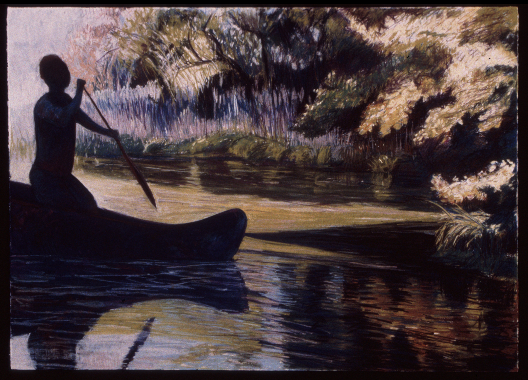 "Blue Canoe   Pastel, 30x40"", 1994"