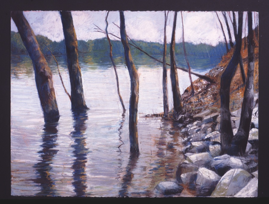 """CT River in Flood  Pastel, 22x30"""", 1993"""