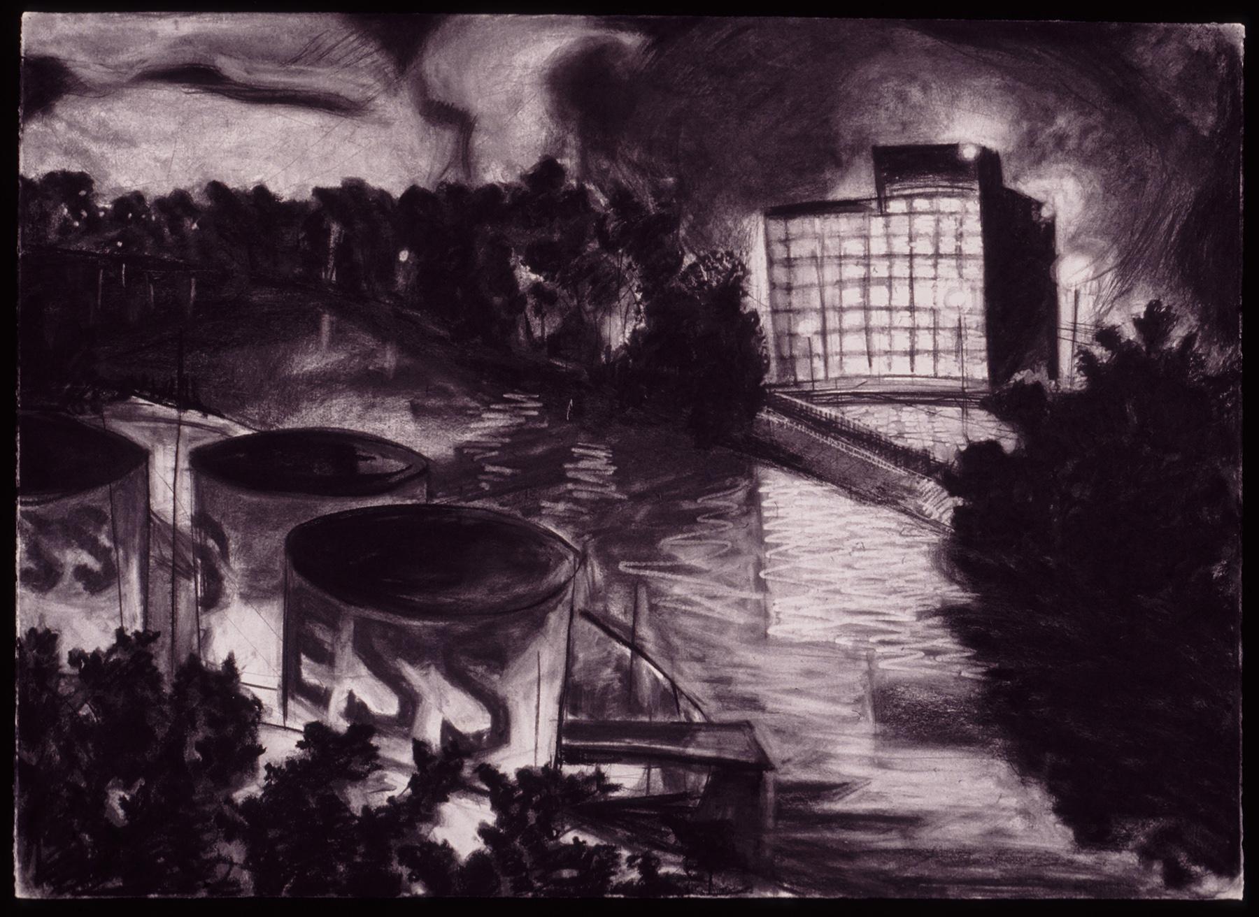 "Dark River   Charcoal, 30x40"", 1993"