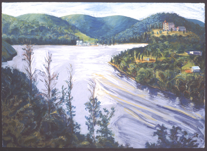 "Deep River Bend from Gillette Castle   Pastel, 30x40"", 1993"