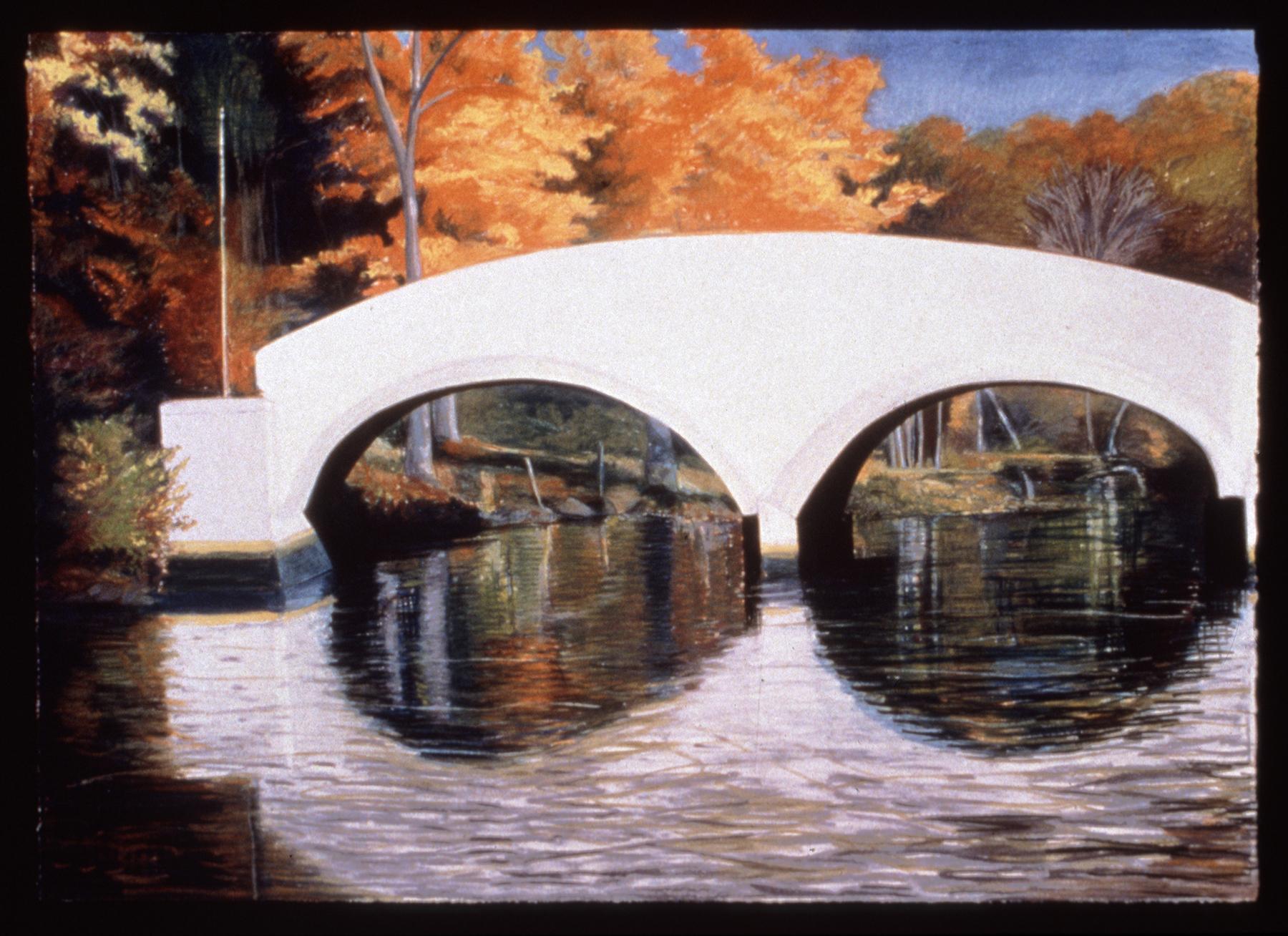 """White Bridge at Hamburg Cove   Pastel, 30x40"""", 1994"""