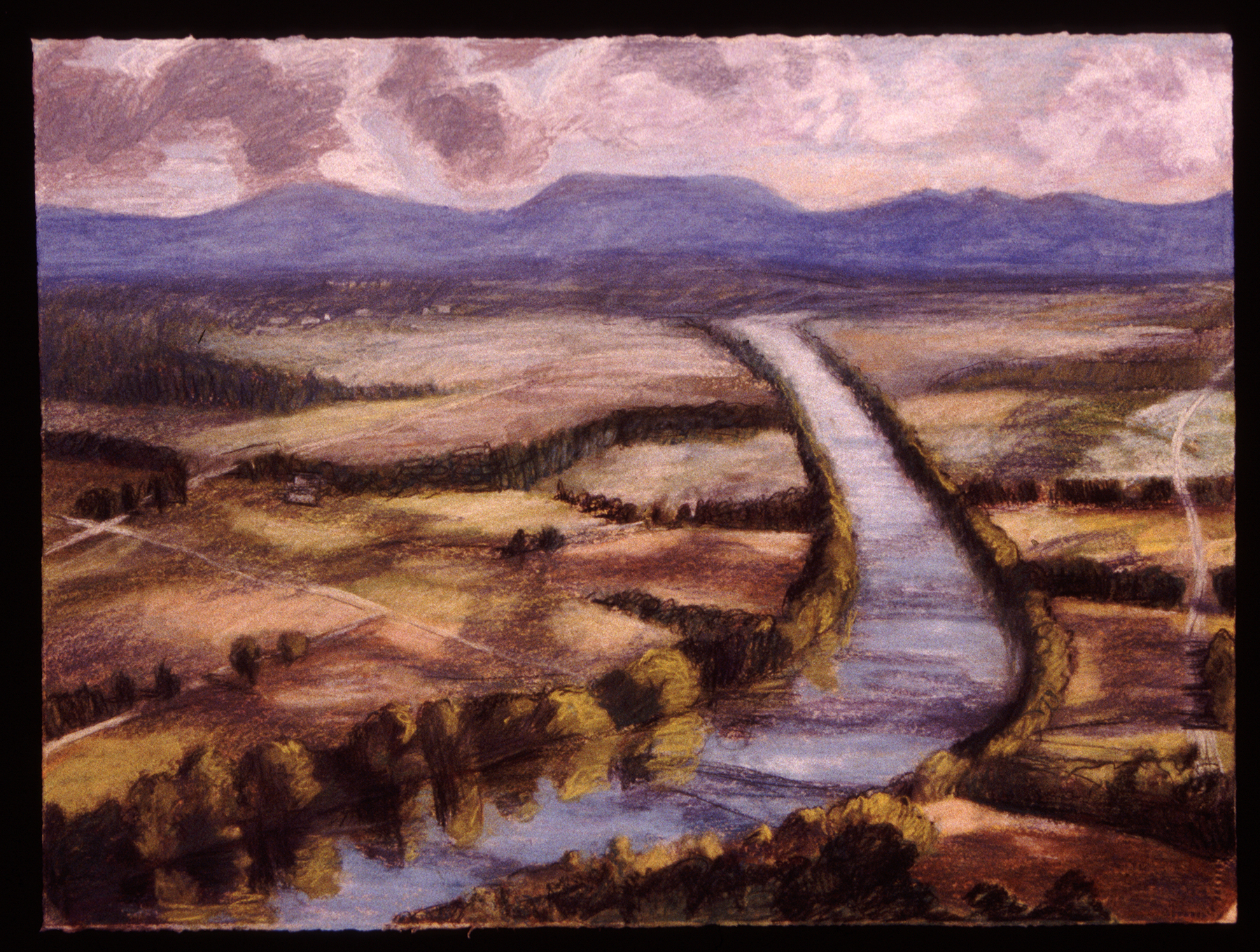 """CT River from Mt. Sugarloaf   Pastel, 22x30"""", 1993"""
