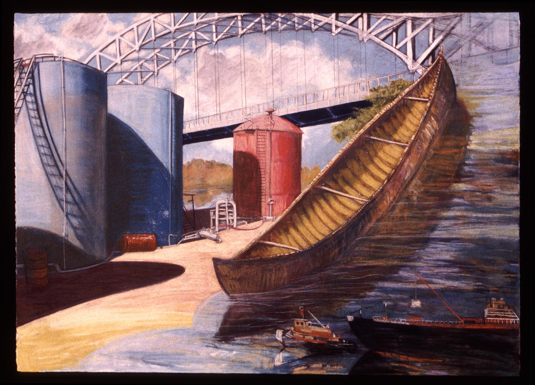 """Under Arrigoni Bridge   Pastel, 30x40"""", 1994"""
