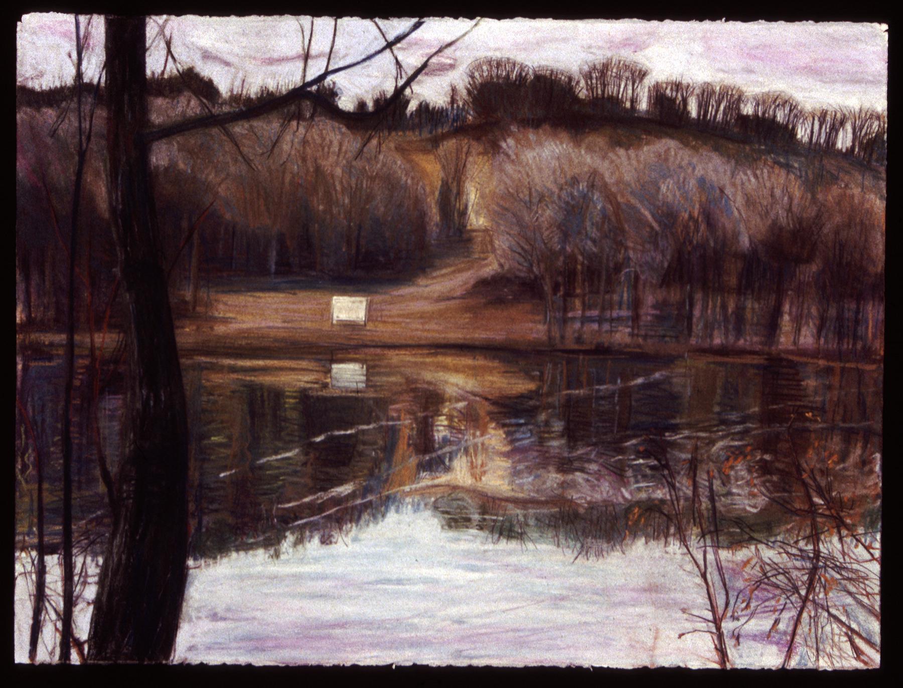 "Winter River   Pastel, 22x30"", 1993"