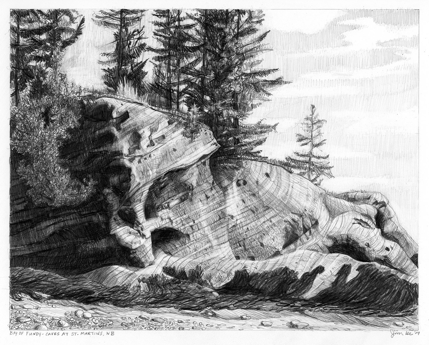 "Bay of Fundy-Cave at St. Martins, NB   Pencil, 15x22"", 2009"