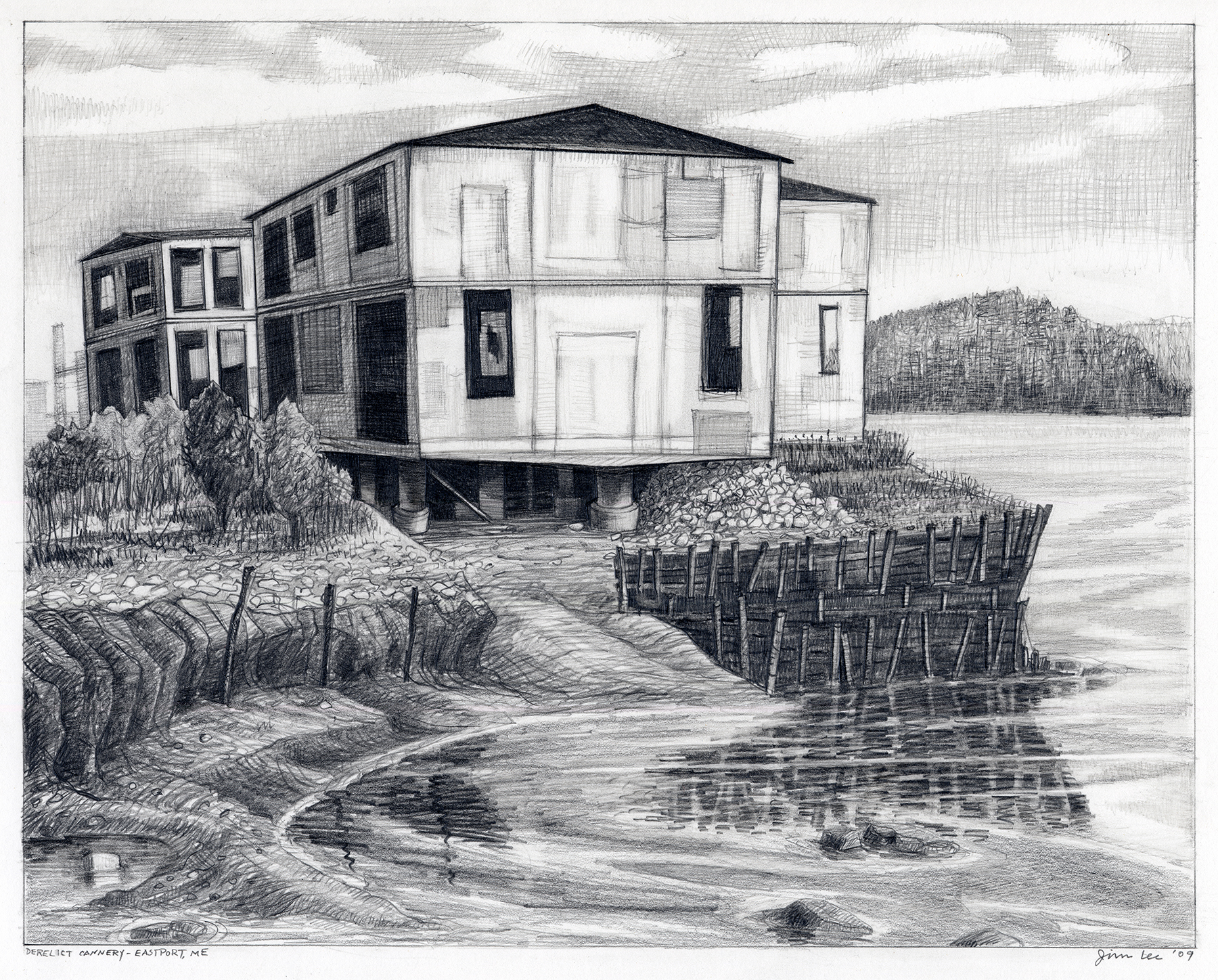 "Derelict Cannery, Eastport, ME   Pencil, 11x14"", 2009"