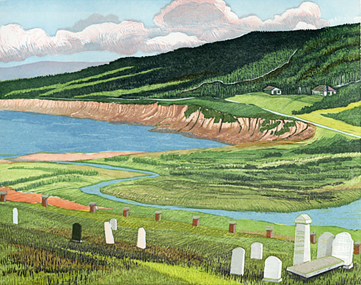 "Whale Cove Cemetery   Color woodcut, 15x18"", 2003"