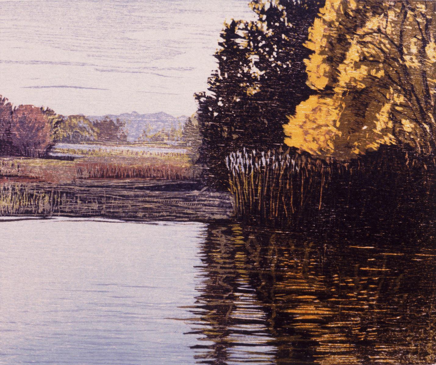 """At Old Saybrook   Color woodcut, 11½ x12½"""", 1996"""