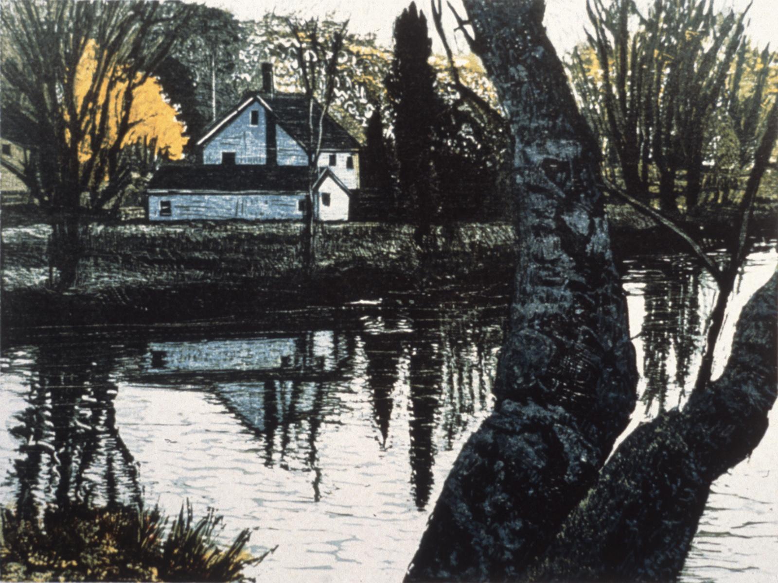 "Cool Shadows   Color woodcut, 15x18"", 1996"