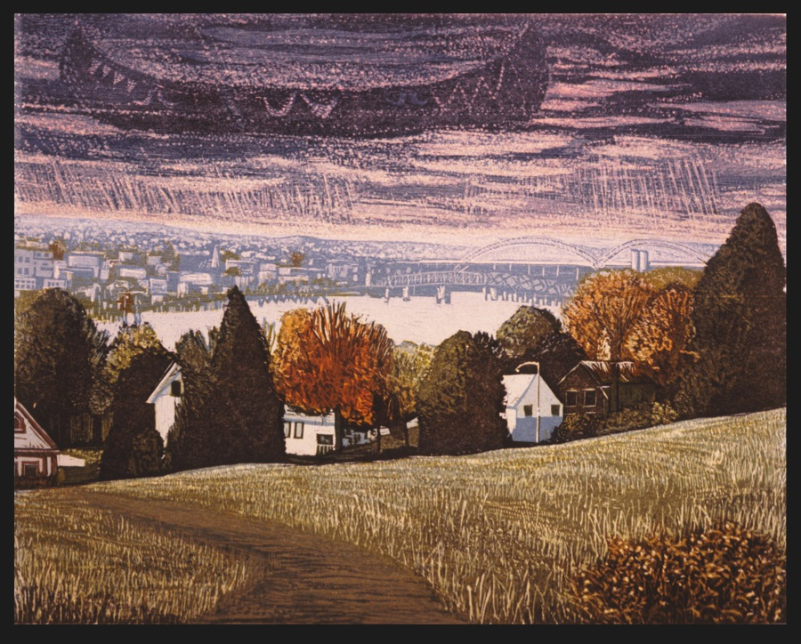 """Blue Canoe over Middletown   Color woodcut, 14¾x17¾"""", 1996"""