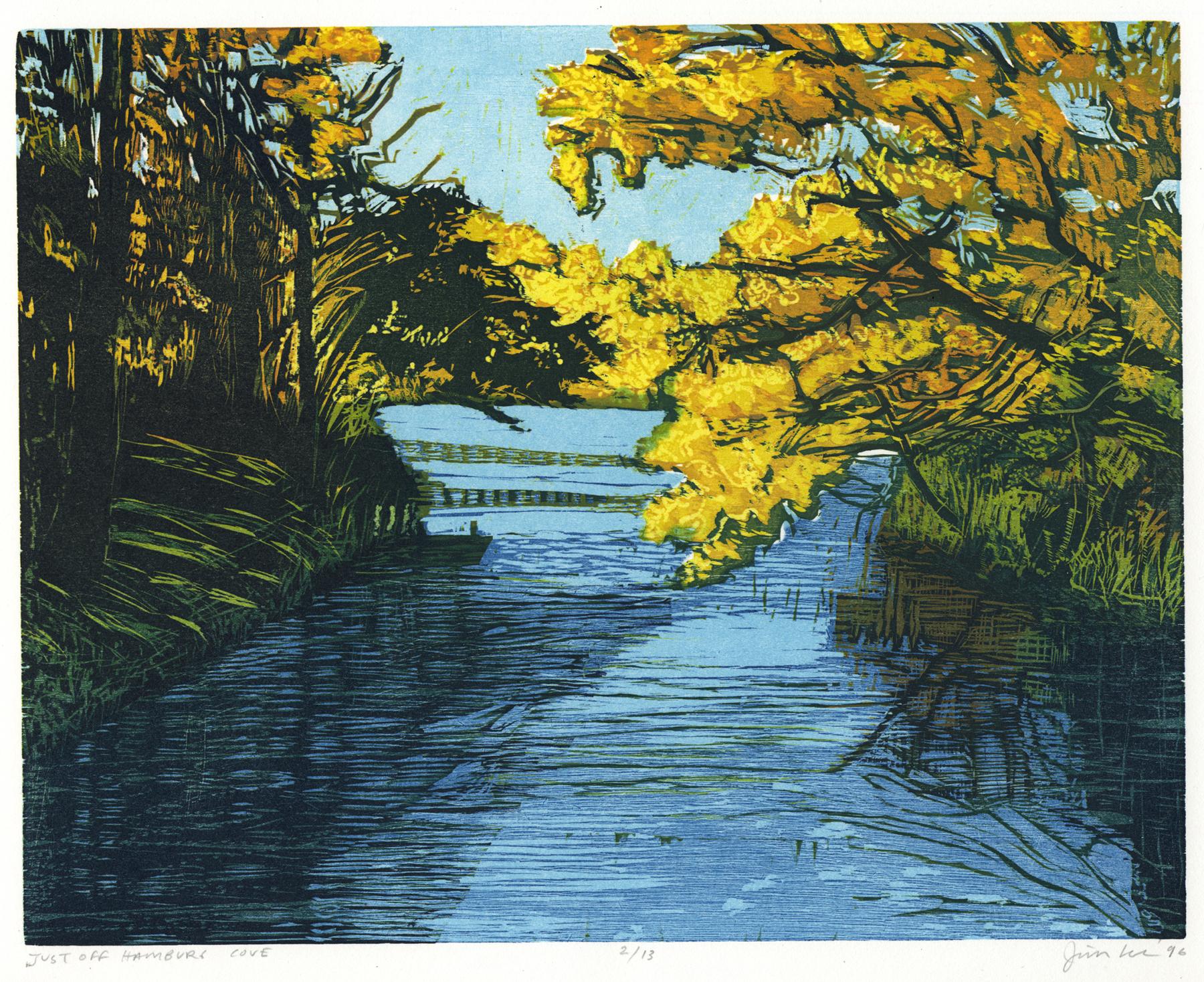 """Just off Hamburg Cove   Color woodcut, 11x14"""", 1996"""