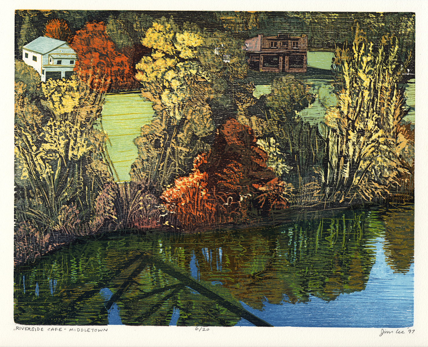 """Riverside Cafe—Middletown   Color woodcut, 11x14"""", 1997"""