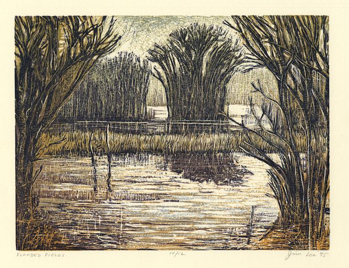 "Flooded Fields   Color linocut, 12¾x15¾"", 1995"