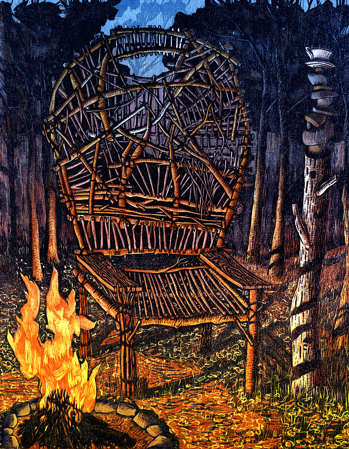 """Seat of the Soothsayer   Color woodcut, 15x18"""", 2013"""