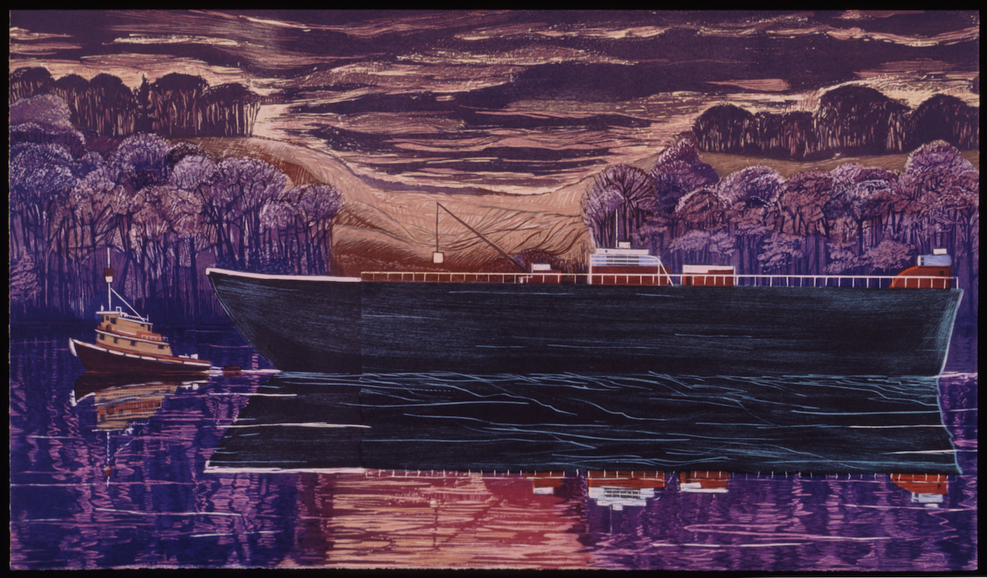 """Tanker at South Glastonbury   Color woodcut, 22x38"""", 1996"""