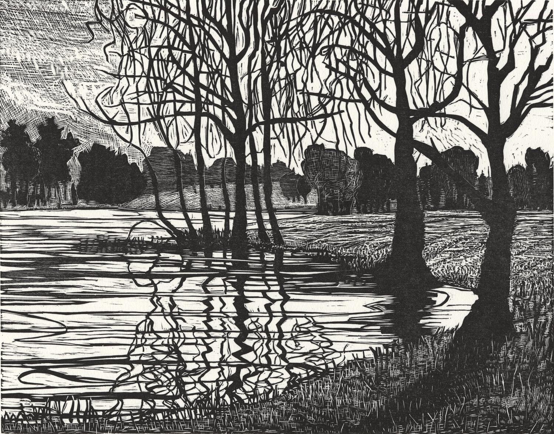 "Rivers Edge   Woodcut, 15x18"", 1997"