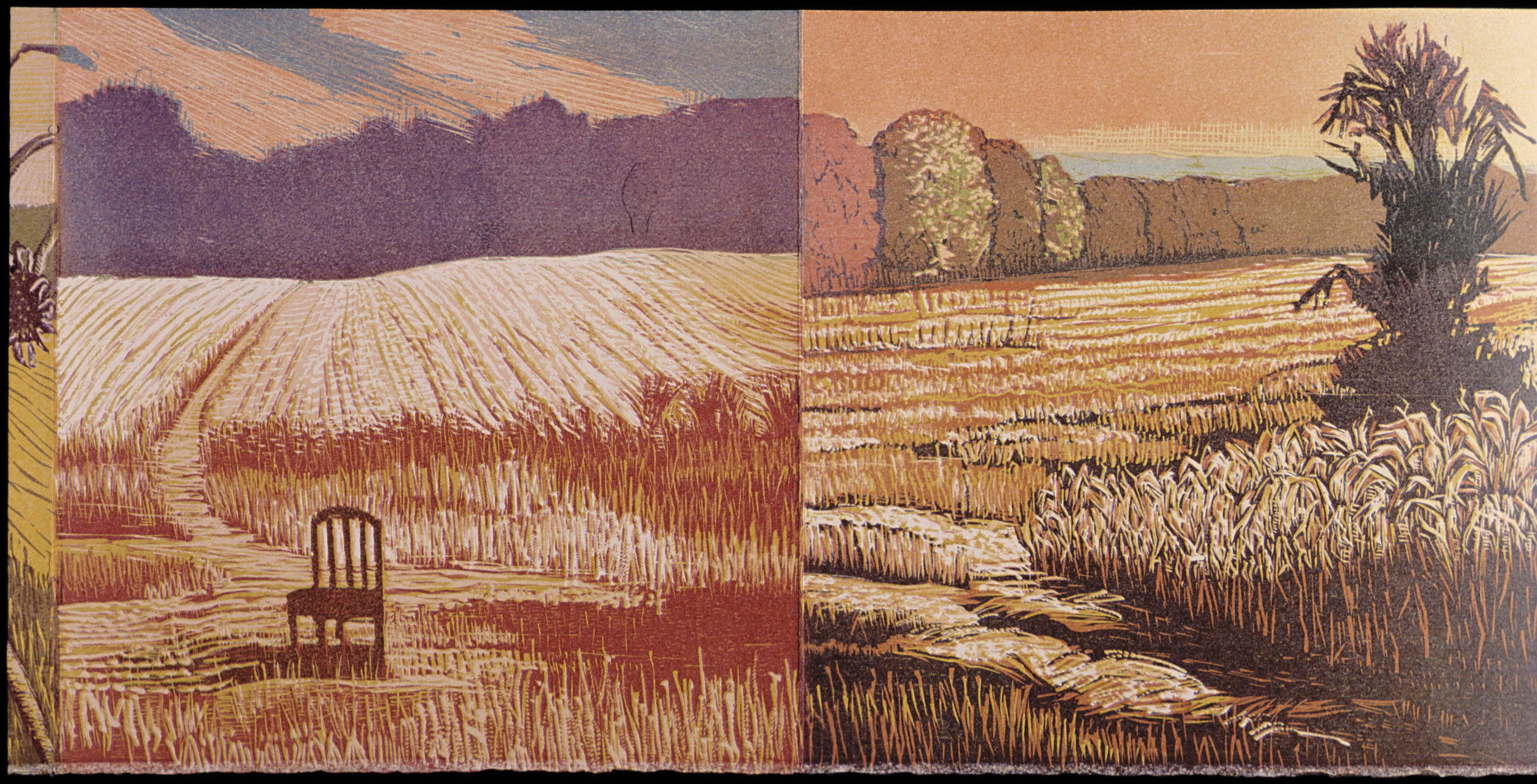 """Fourth section panels  color woodcut, 9¾x20"""""""