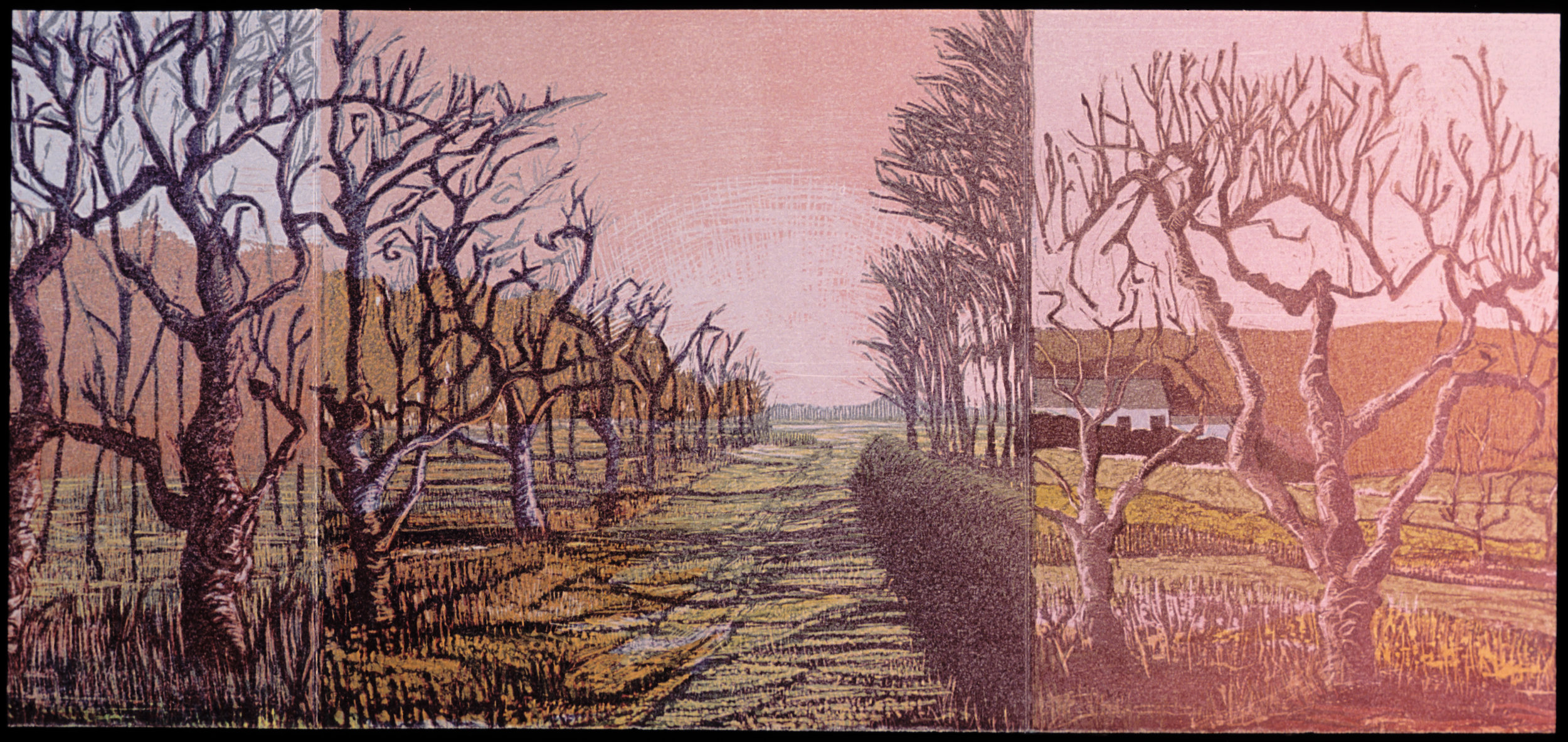 """Second section panels  color woodcut, 9¾x20"""""""