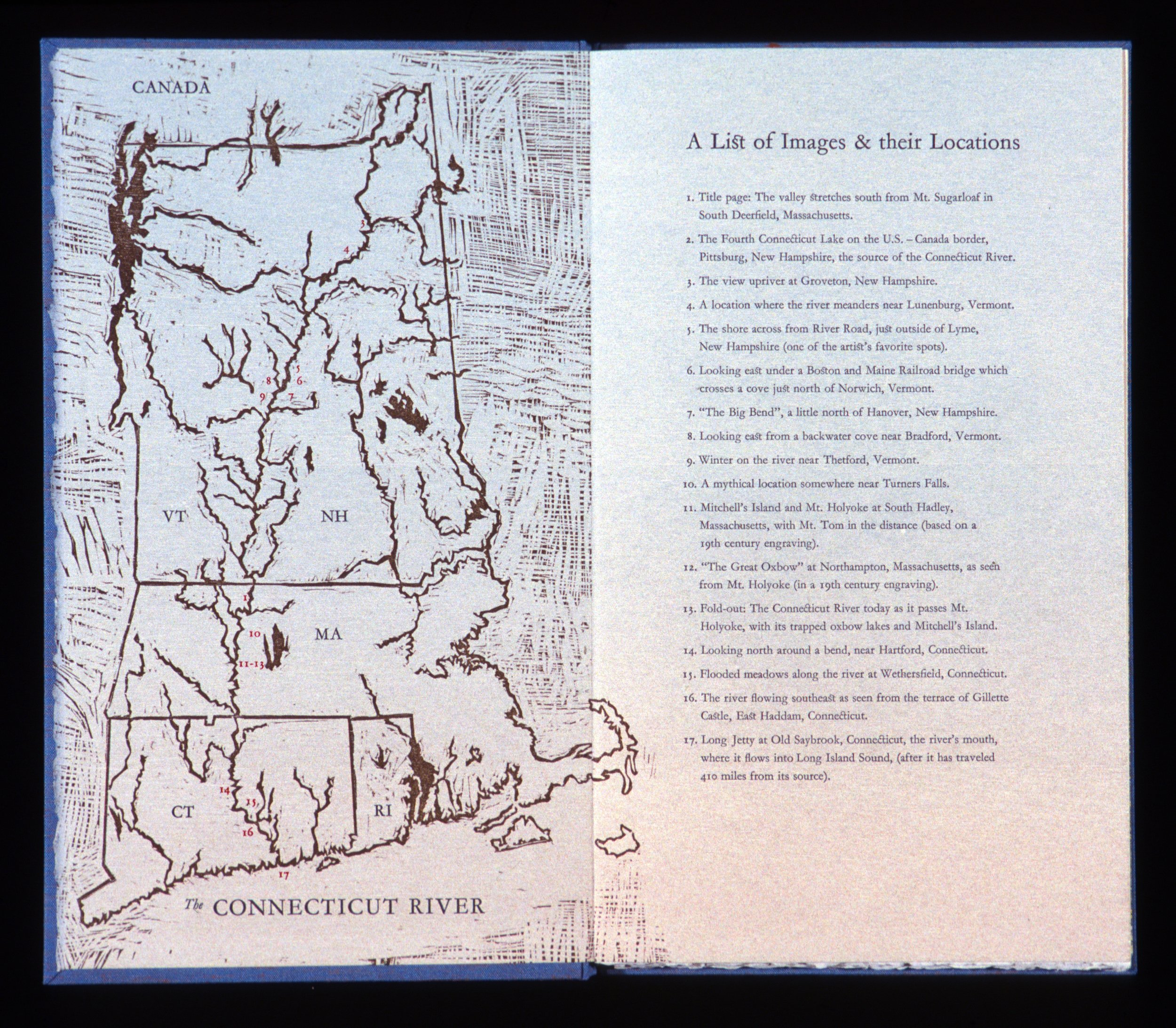 """Inside cover-map  woodcut and letterpress, 13x15 1/2"""""""
