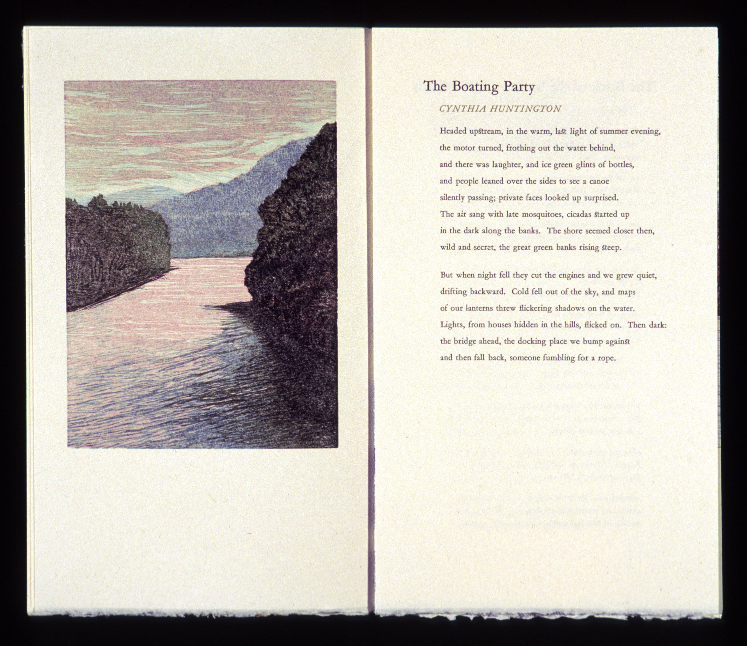 "Cynthia Huntington spread  Color woodcut and letterpress, 13x15 1/2"""