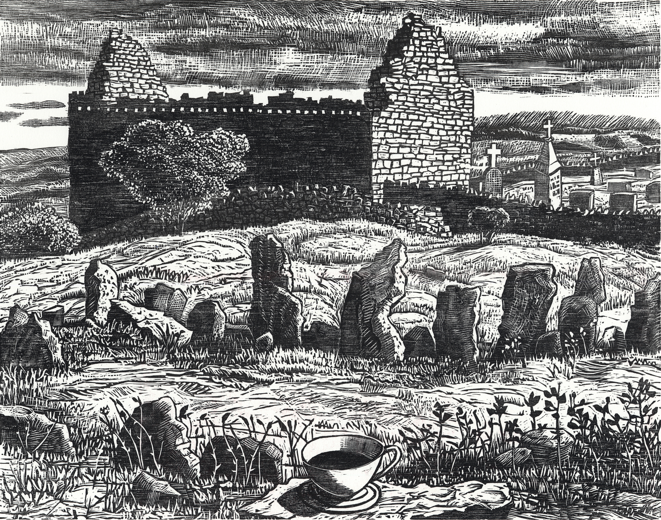 Stone Circle and Ruined Church   (b/w edition), 2018  Woodcut, 18x15""