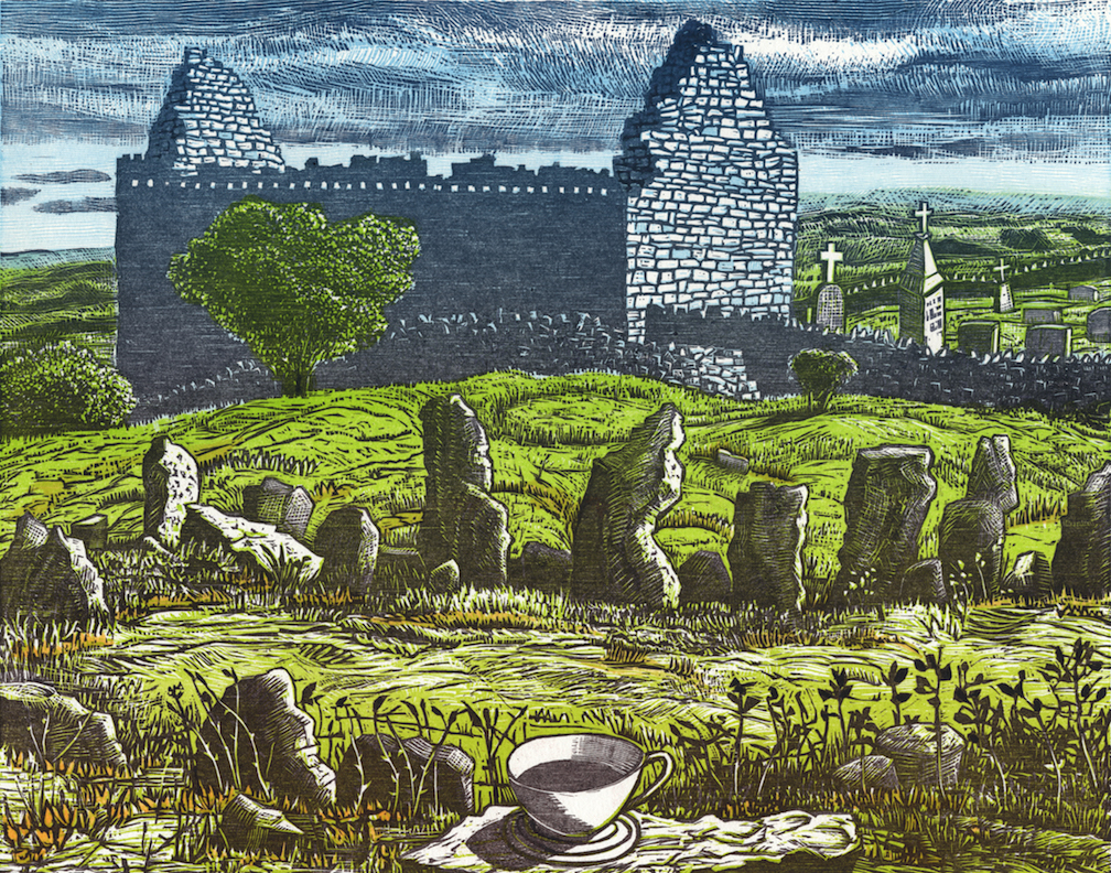 Stone Circle and Ruined Church , 2018  Color woodcut, 18x15""