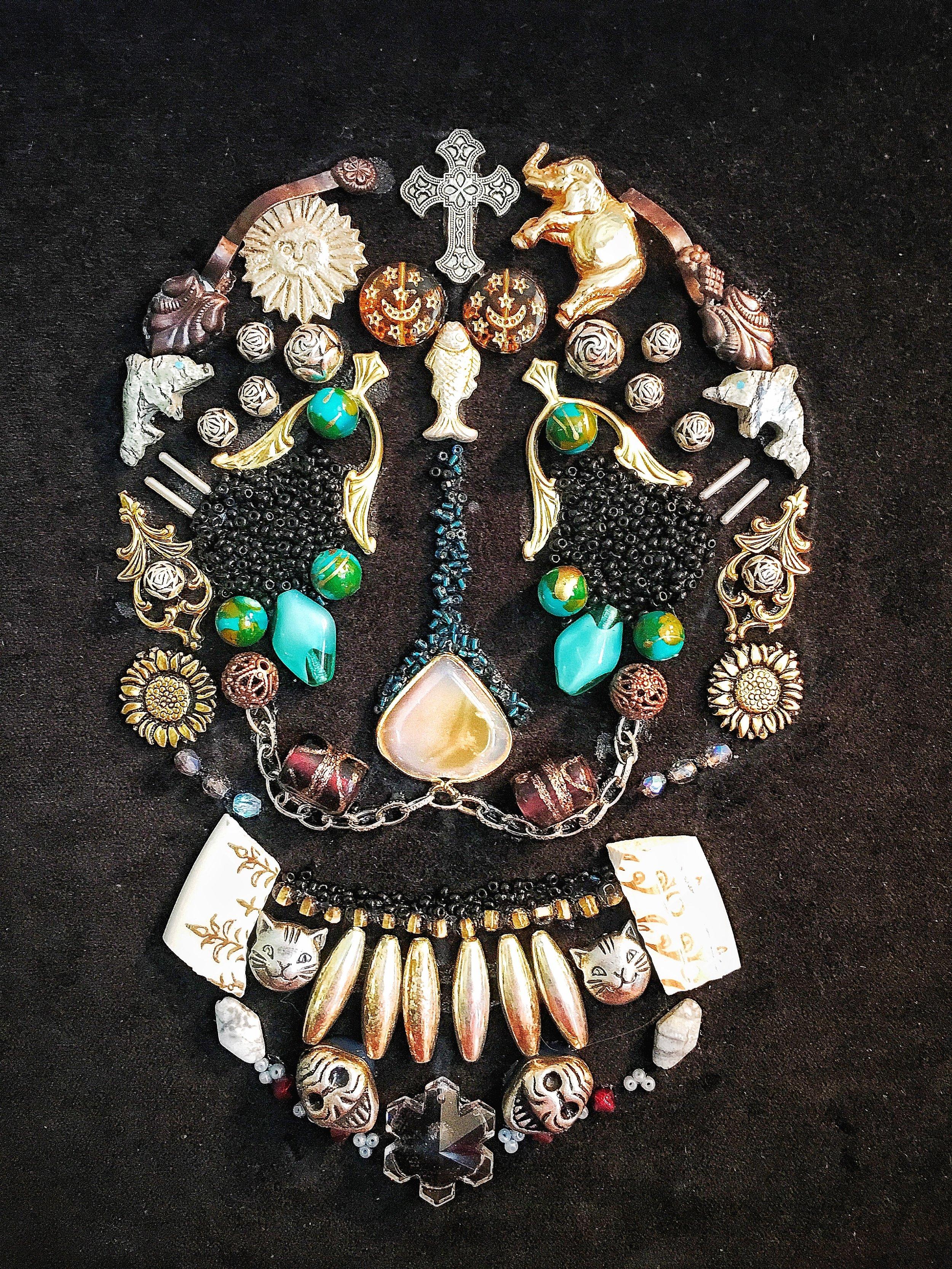10 x 10  Jewelry collage on velvet.