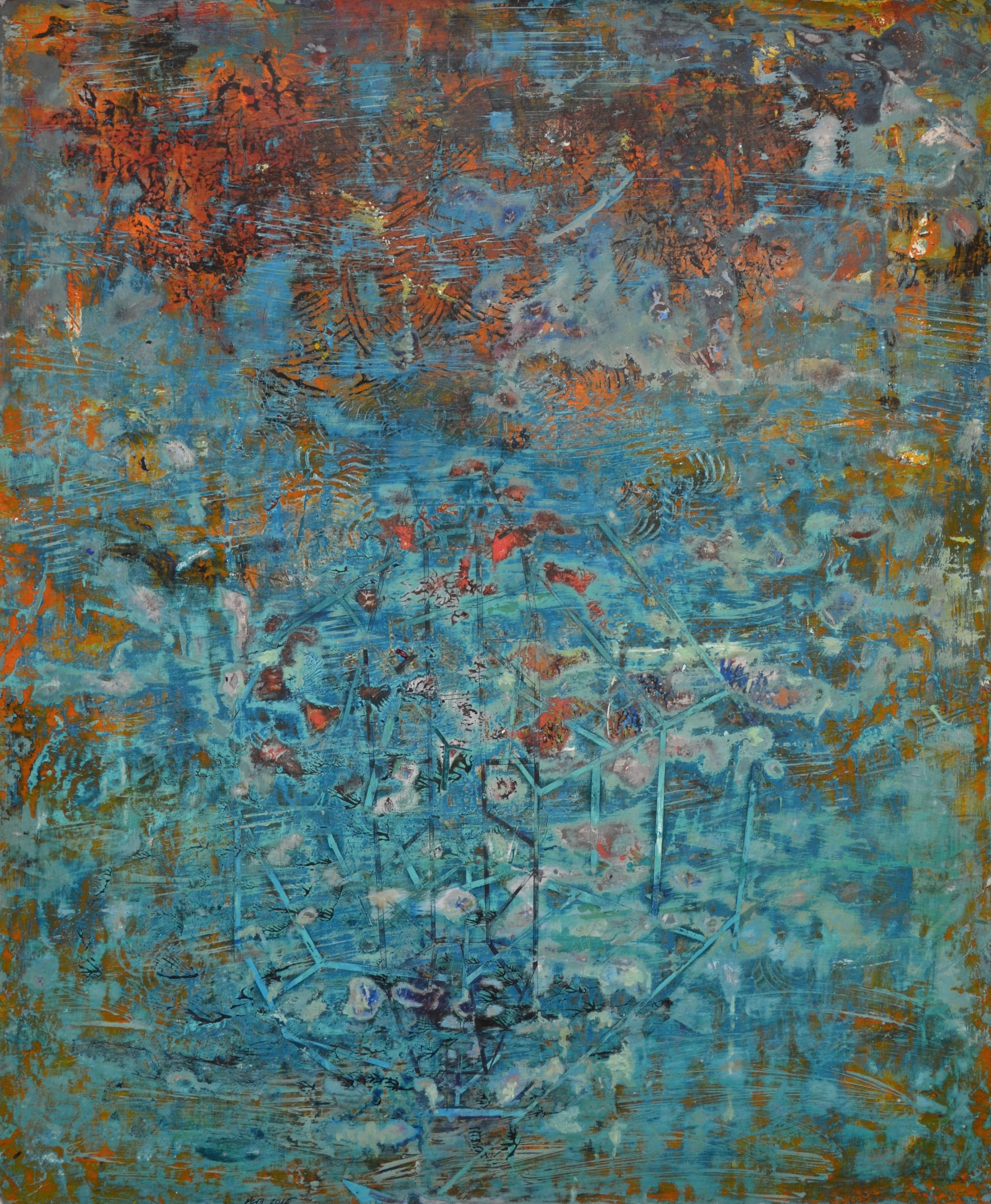 Untitled (Coral Sea, 1942)   17 x 14 inches Acrylic on paper 2015