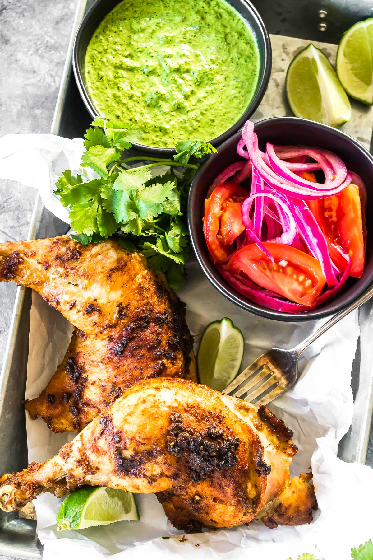Peruvian Chicken with Tangy Green Sauce