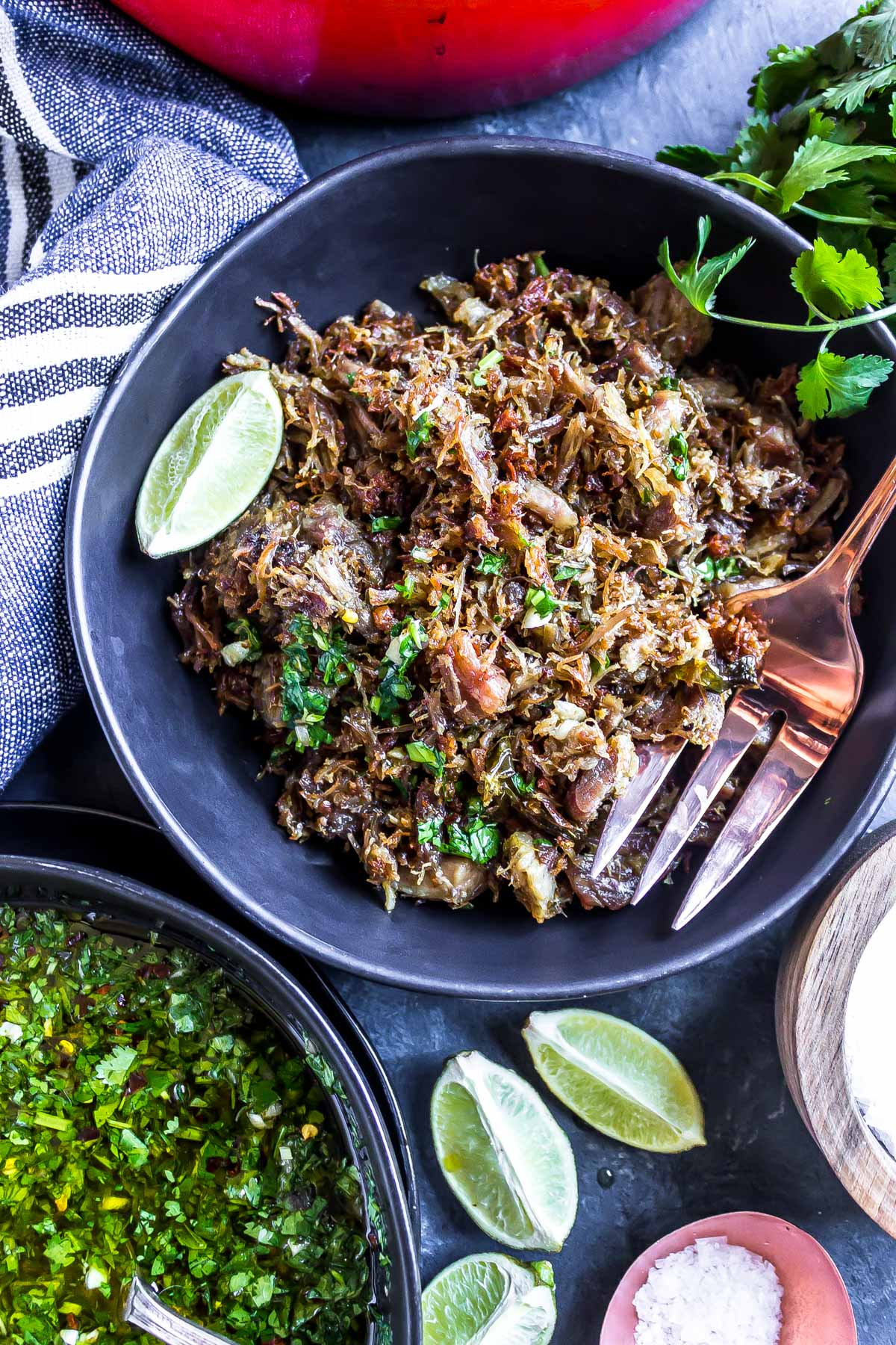 These crispy Keto Carnitas are the perfect protein option for a keto diet as the ratio is about 75% fat to 25% protein. Feel free to scale the recipe to make more or less, we vote for more since this is a great meal prep option to have on hand for easy meals.   #lowcarb     #lowcarbrecipe     #ketorecipe     #keto     #lchf     #lchfdiet     #lchfrecipe     #easyrecipe     #summer     #pork    #ketodiet     #glutenfree     #atkins