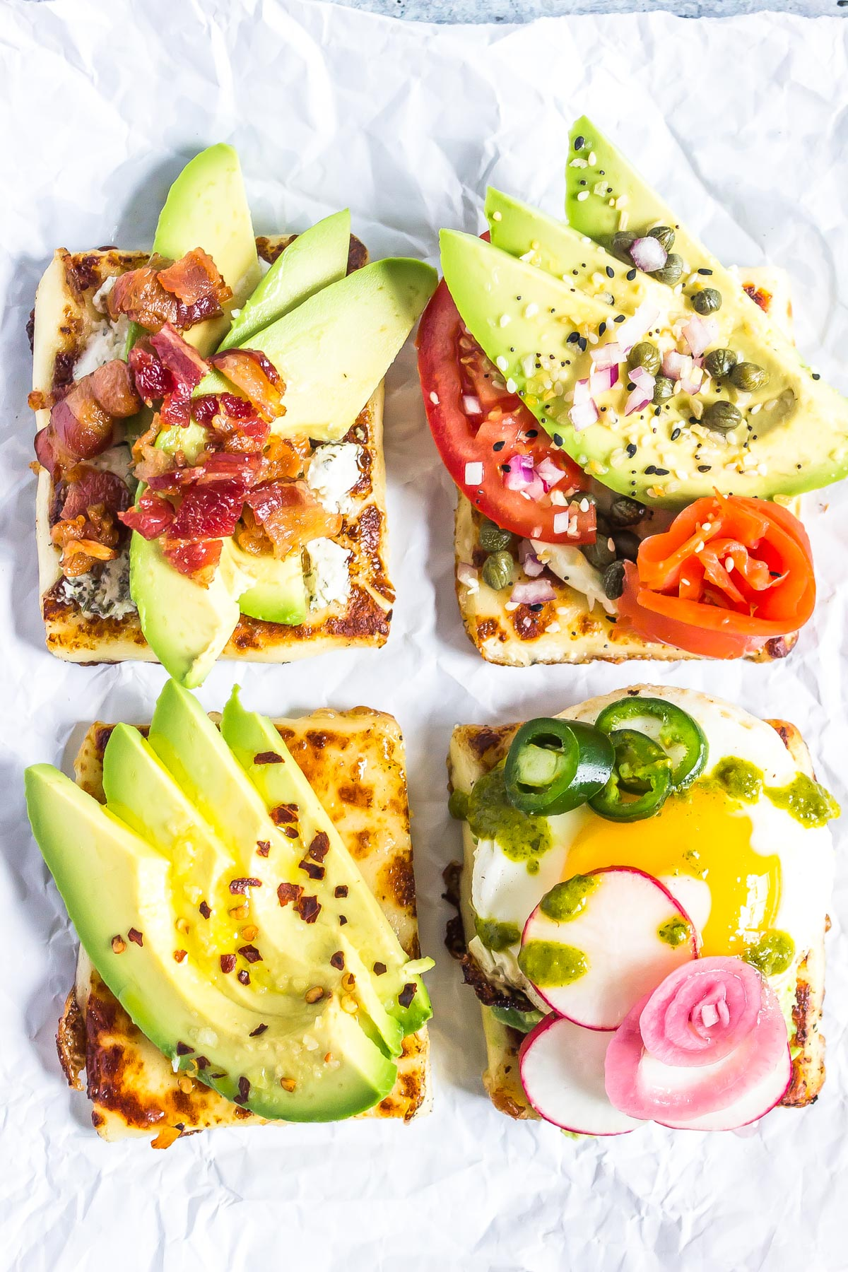Keto Avocado Toasts - 4 Ways