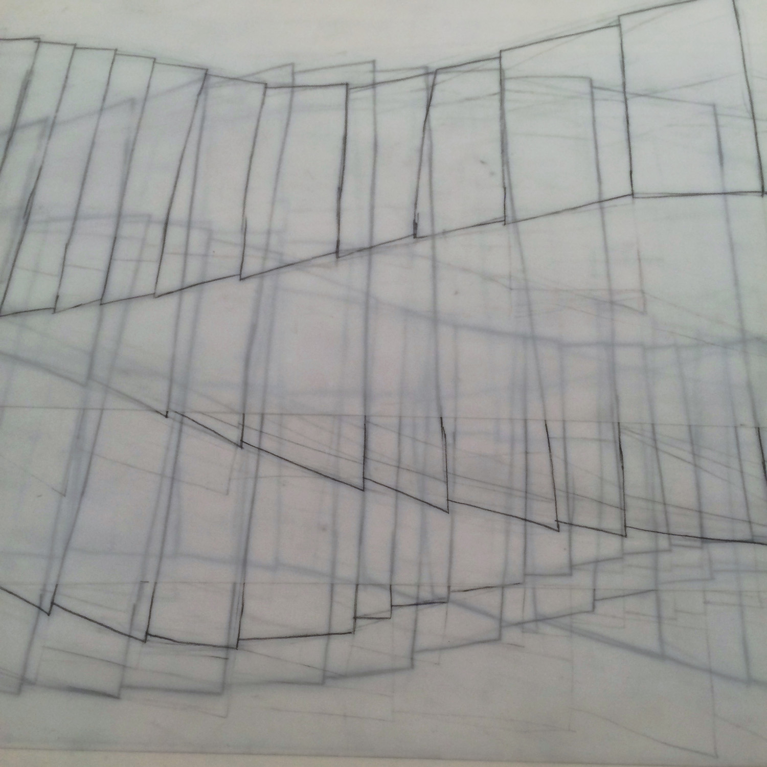 """Here is a layer cake of the  traces that I'll use to transfer the completed drawings to painted mylar for the collage process. This is why process is so cool.Now I'm thinking...""""what can I do with graphite and transparency""""!"""