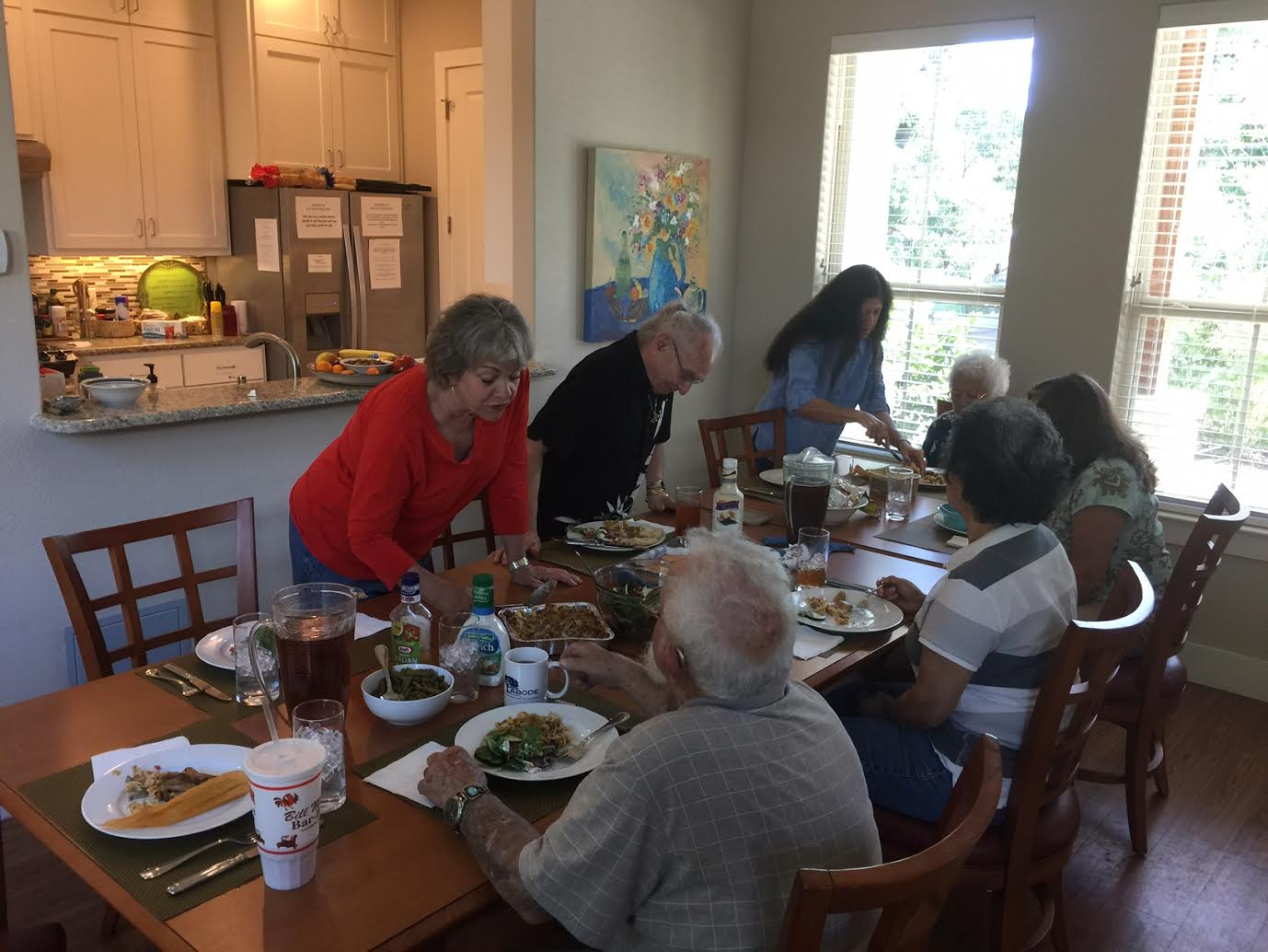 We have lunch everyday at ABODE. It's not unusual for family members of past Guests' to stop by and join us for a bite to eat and good conversation.