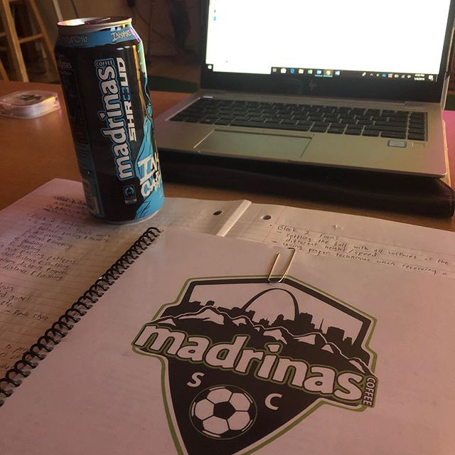 Putting in work behind the scenes. The only way to build the proper culture is to practice what you preach! Oh, of course I have some @madrinas to fuel me. #madrinas #coffeeforfuel #coachknowledge #eachoneteachone #madrinassc #soccer #coachlife
