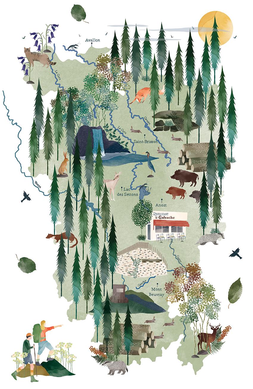 Illustration de la Carte du Morvan : La Montagne Solitaire.
