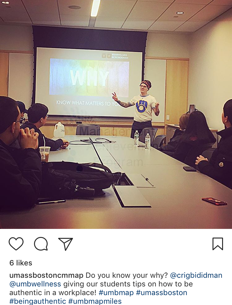 I love being a wellness specialist on my campus because, as much as speaking in front of hundreds of students is fun, I cherish the moments I when I get to consistently share info on self-care with my students at UMass Boston.