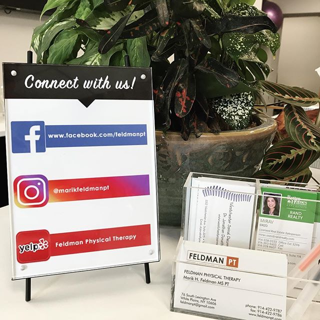 Be sure to connect with us on our other online platforms! 📱💻 #feldmanpt #feldmanphysicaltherapy #instagram #facebook #yelp #leavealike #leaveareview #connectwithus #socialmedia