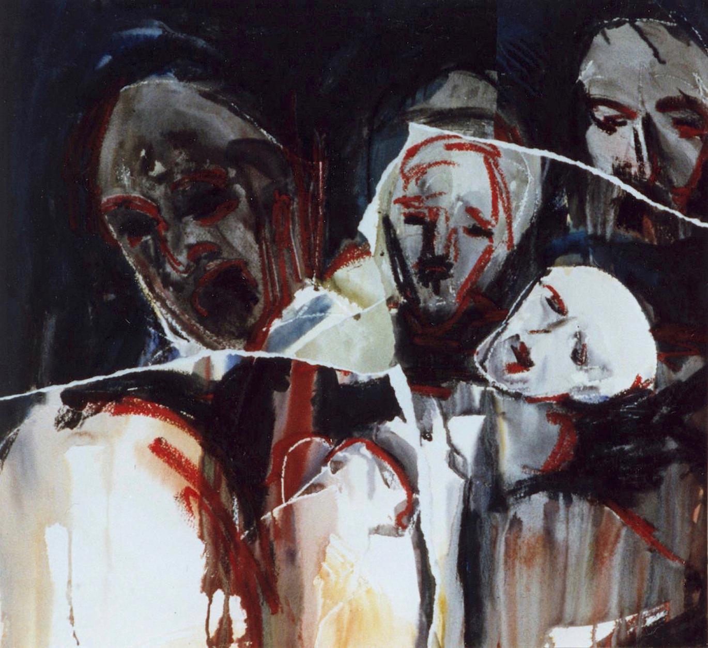 Déchirures II, 1999. Aquarelle et technique mixte sur papier, 64 x 69 cm.