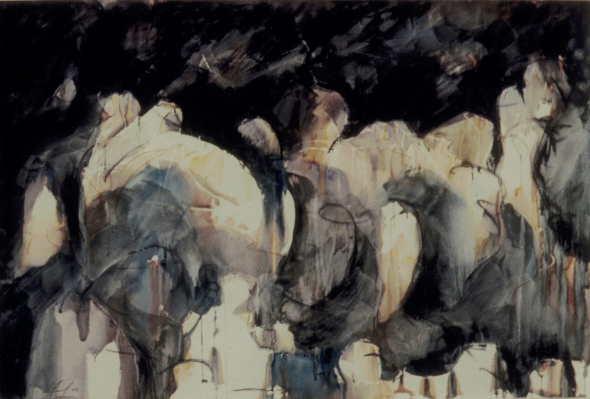 Rencontre de paix, 1986. Technique mixte sur papier, 82 x 125 cm.